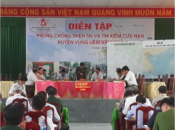 Diễn tập phòng chống thiên tai và tìm kiếm cứu nạn huyện Vũng Liêm năm 2019